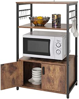 IWELL Kitchen Baker's Rack with 1 Cabinet and 8 Hooks, 3-Tier Utility Storage Shelf, Microwave Oven Stand, Industrial Storage Cabinet, Bookshelf for Living Room, Bathroom Cabinet, ZWJ003F