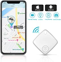 Key Finder Smart Tracker Bluetooth Locator with App for Phone Wallet Tracker for Keychain Bag Purse Luggage Anti-Lost Alarm GPS Reminder Tracking Device Replaceable Battery Item Finder (White)