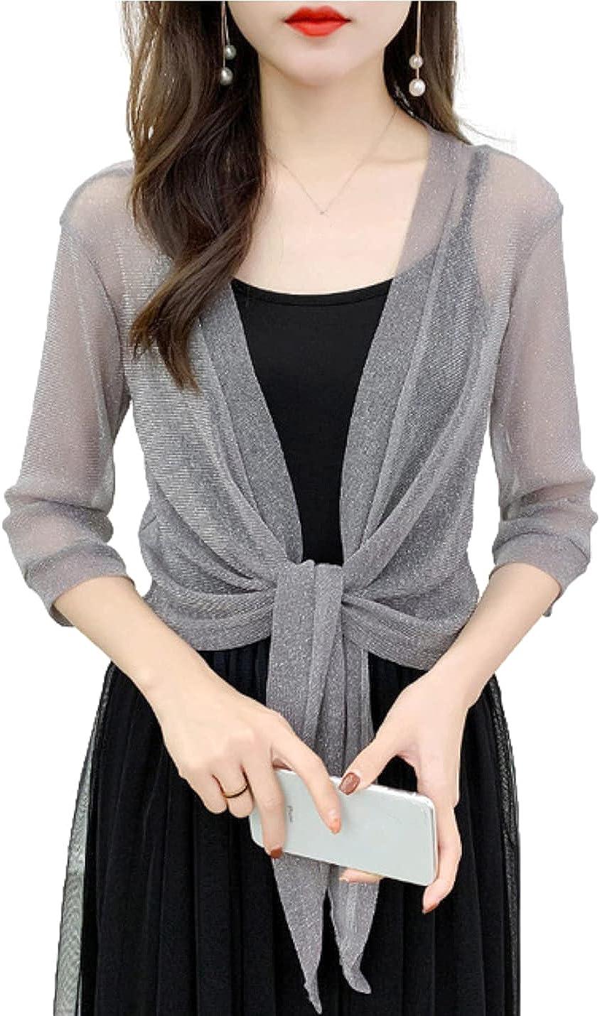 Bnigung Women's Lace Cardigan 3/4 Sleeve Shrug Tie Front Sheer Bolero Crop Cardigans