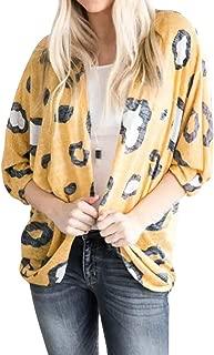Bravetoshop Women's Long Sleeves Cow Print Knitting Cardigan Open Front Warm Sweater Outwear Coats