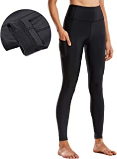 CRZ YOGA Women's Thermal Fleece Lined Leggings High Waisted Winter Yoga Pants with Pockets-28 Inches