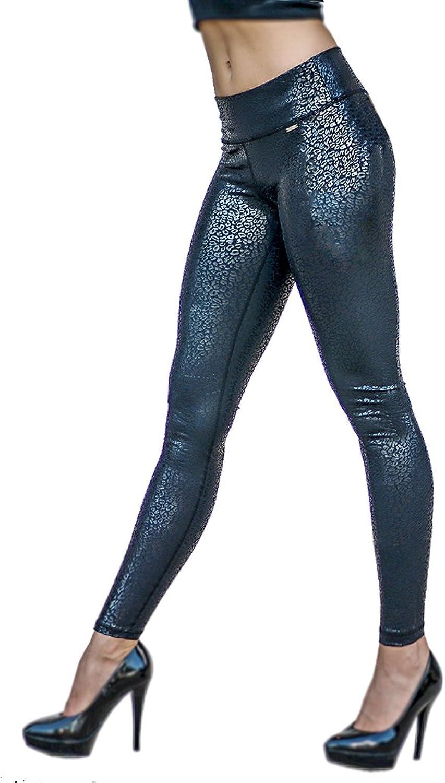 Platinum Sun Women's Leopard print black compression Leggings