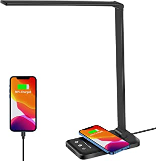 Desk Lamp with Wireless Charger & USB Charging Port, Eocean Table Lamp with 5 Brightness Levels & 5 Lighting Modes, Eye-Ca...