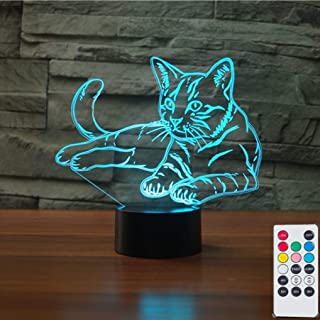 Cute Kitten 3D Illusion Lamps Nightlight with Remote Control, 7 Colors Touch Switch Table Desk Lamps Holiday Xmas Birthday Toys Gifts for Kitten Cat Lovers