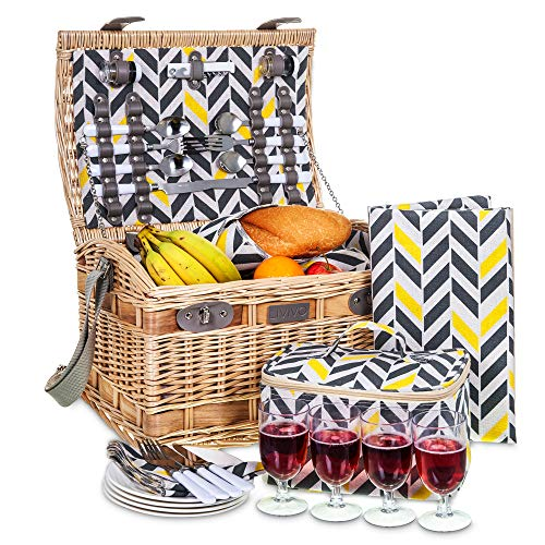 LIVIVO 4 Person Traditional Picnic Wicker Hamper Willow Basket With Cooler Bag Geo XL Extra Large Snack Drink Storage Includes Ceramic Plates Glasses Cutlery Bottle Opener Napkins Blanket Mat