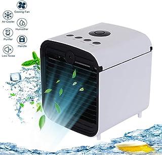 Nifogo Climatizador Evaporativo Aire Acondicionado Portátil Enfriador Mini con 3 Velocidades y LED Luz de la Noche Apto para oficinas y dormitorios.