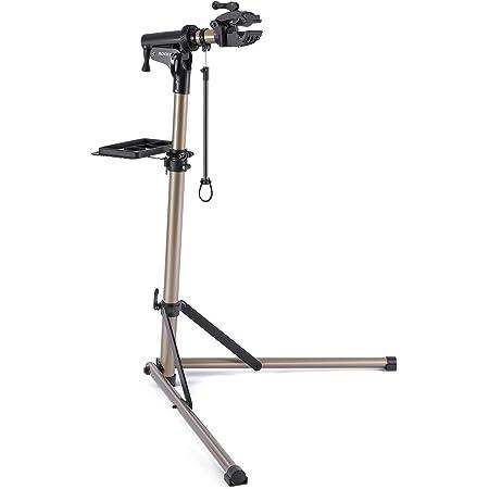 ROCES 自転車 メンテナンススタンド 安定感抜群 高さ調節 角度調節 ワークスタンド 折りたたみ式 工具トレー付 軽量 コンパクト 収納、持ち運びに便利(RS-100)