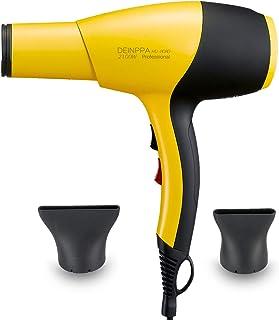 Deinppa Secador de pelo iónico AC 2100 W secador de salón profesional bajo nivel de ruido secado rápido con tecnología de cerámica + turmalina, Amarillo