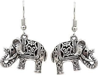 B Baosity 1 Coppia Orecchini Etnici con Nappa Stile Moneta/Elefante Accessorio per Spiaggia - Argento - Elefante