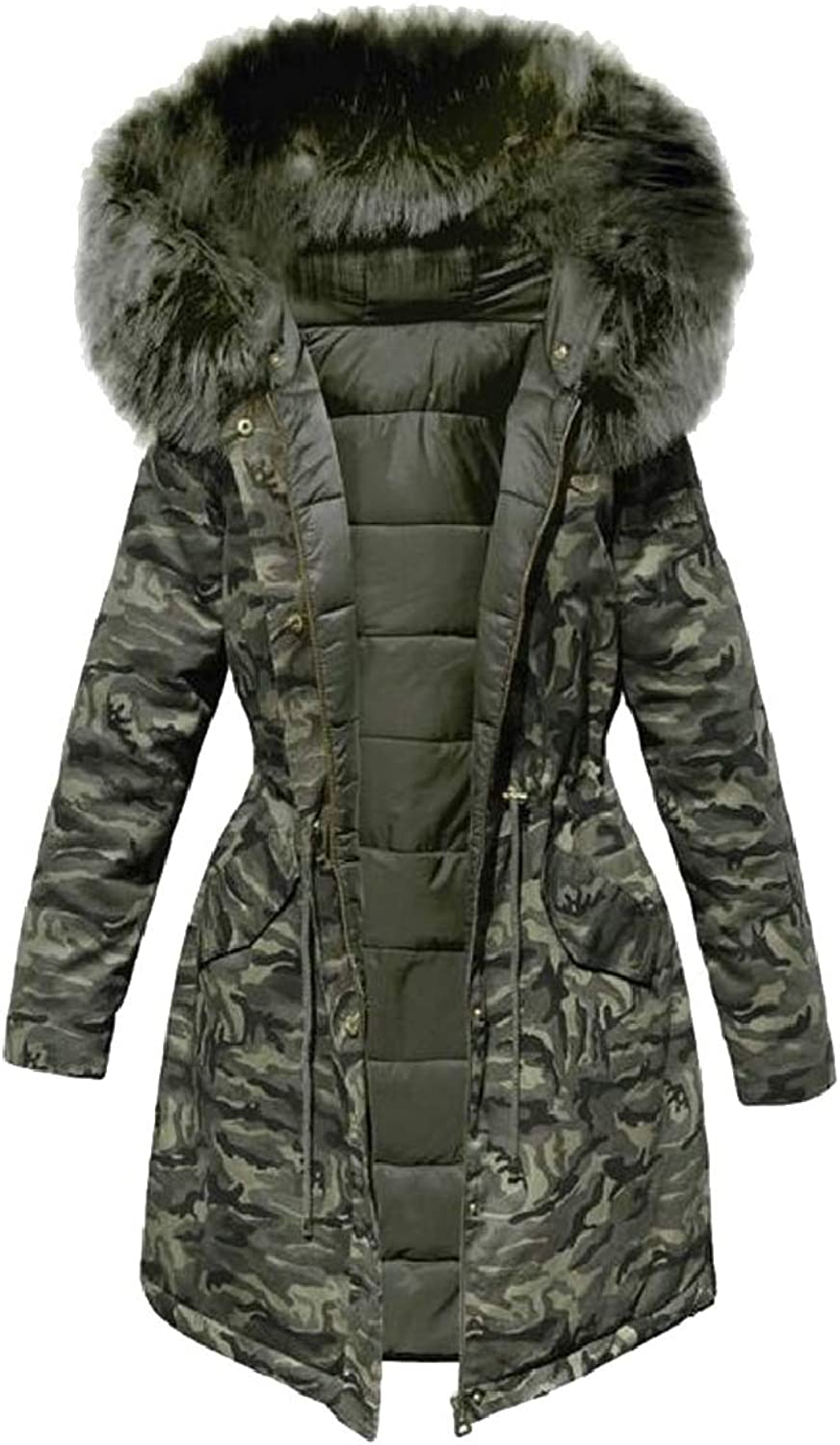 RGCA Women Camo Puffer Coat with Faux Fur Trimmed Hood Thicker Down Jacket