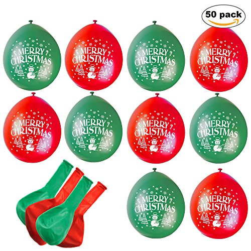 THE TWIDDLERS 50pcs 1 Ballons Latex Noël en Rouge et Vert - Décoration Parfait pour la Maison, Les Cadeaux ou Le Bureau Cette année