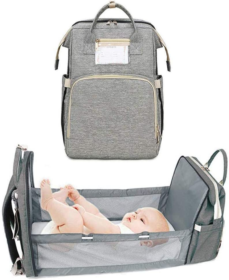 3 in 1 Travel Bassinet Foldable Baby Bed, Portable Diaper Changing Station Mummy Bag Backpack, Portable Bassinets for Baby and Toddler, Travel Crib Infant Sleeper, Baby Nest with Mattress