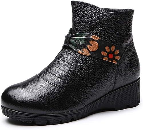 ZHRUI Stiefel Estampado De Flores De damen De Cuero schwarz Suave schuhe (Farbe   schwarz, tamaño   EU 37)