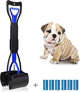 UPSTONE Folding Pets Pooper Scooper Set for Dogs with Poop Bags Waste Pick up Best Long Handle Scoop Easy to use Portable and Heavy Duty with Jaw Claw Bin (23.5 inches)