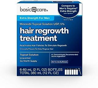 Amazon Basic Care Minoxidil Topical Solution USP, 5%, Hair Regrowth Treatment for Men, Extra Strength, 12 Fluid Ounces