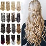S-noilite 17-26 Inches(43-66cm) 8pcs Long Full Head Clip in Hair Extensions Sexy Lady Fashion Choice 13 Colors (17'-Curly, dark brown)