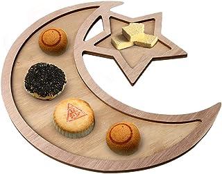 木材イードアルフィットテーブル装飾ラマダン食品トレイデザートトレイ月と星デザートトレイ家の装飾クラフト食器 Eid al-Fitr用