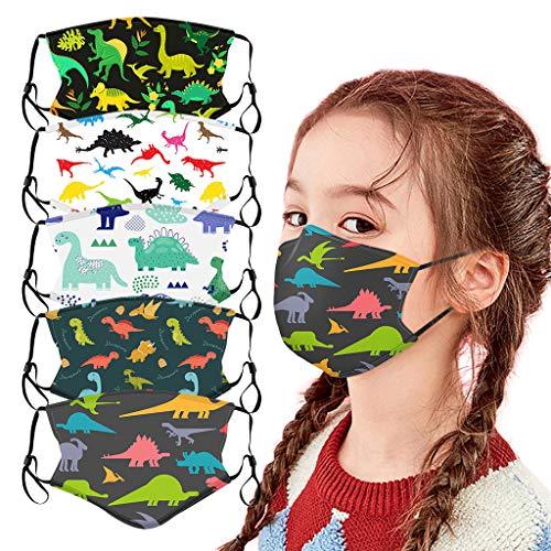 Lulupi Kinder Mundschutz Multifunktionstuch 3D Cartoon Druck Maske Animal Print Atmungsaktive Baumwolle Stoffmaske Waschbar Mund-Nasen Bedeckung Tiermotiv Bandana Halstuch Jungen Mädchen,5er Pack