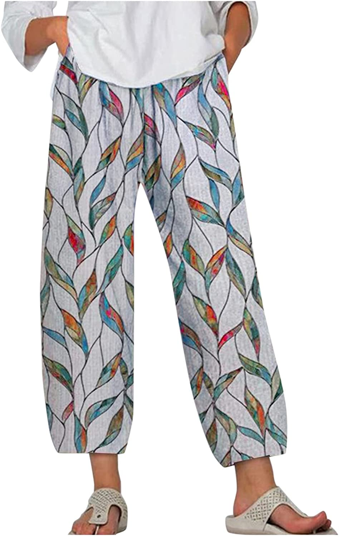 MASZONE Capris Pants for Women Casual Summer Fashion Print Harem Pants Elastic Waist Baggy Wide Leg Cropped Trousers