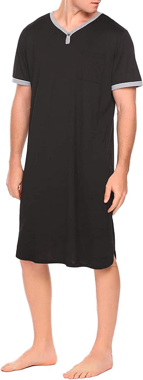 Jumpp Mens Nightshirt Long Sleeve Sleepwear Soft Short SleeveNightgown Loose Pajama Sleep Shirt