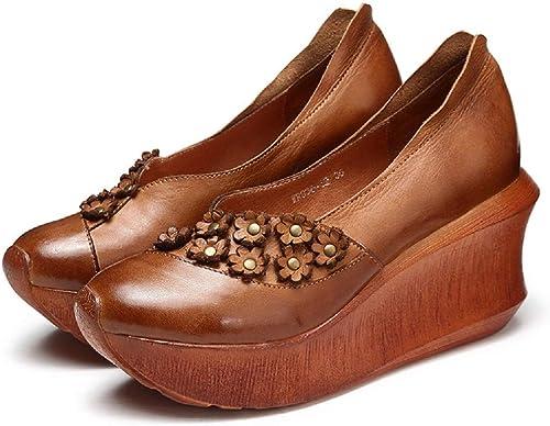 Fuxitoggo Plate-Forme Mary Jane Femmes Fleur en Cuir Fait Main Chaussures Décontractées (Couleuré   Marron, Taille   EU 40)