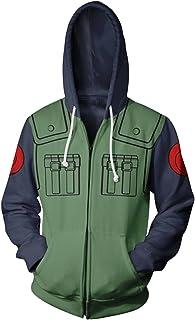 19c13abba533 UU-Style Men s Naruto Kakashi Long Sleeve Bomber Jacket Cosplay Costume  Jiraiya Hoodie Sweatshirt