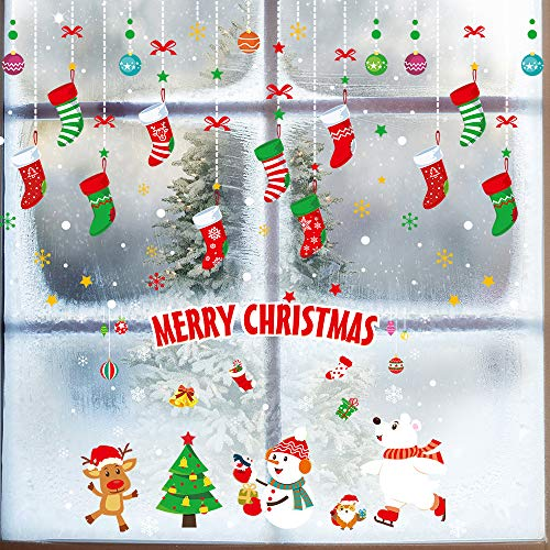 Window Stickers for Christmas Decorations,BS Adhesive Wall Window Clings Decals with Christmas Tree Window Door Wall Sticker for Home Office Shop Windows Glass Holiday Decorations(Style A, 4 Sheets)