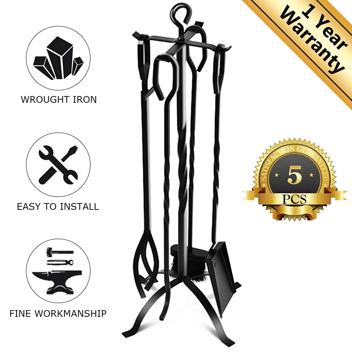 VIVREAL Fireplace Tool Set, Heavy Duty 5 Pieces Kit for Home, Wrought Iron Fireset with Poker, Tongs, Shovel Brush Center Stand-Easy to Assemble, Black