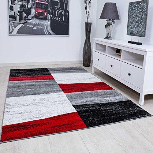 VIMODA Teppich Geometrisches Muster Meliert in Rot Grau Weiß und Schwarz, Maße:160x220 cm