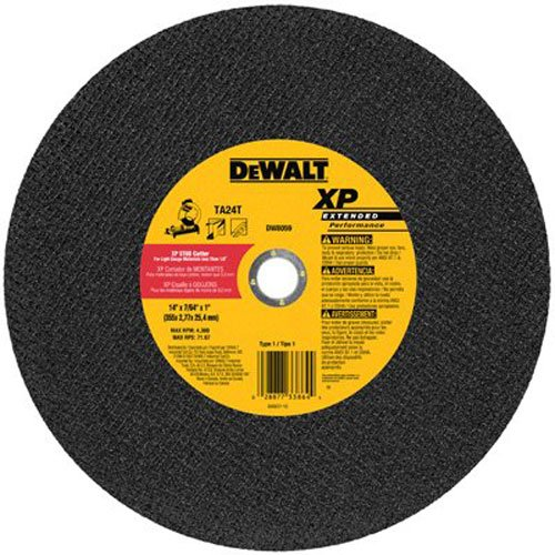 DEWALT DW8059 14-Inch by 7/64-Inch XP Metal Stud Cutting Wheel, 1-Inch Arbor