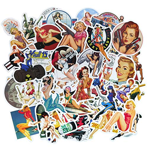 Retro Pin-up Sexy Girl Sticker Pack(49-pcs), No Repeat Vinyl Decal Stikers for Laptop Water Bottle Guitar Skateboard Motorcycle Car Bike Luggage Trolley Case Stickers with Waterproof PVC