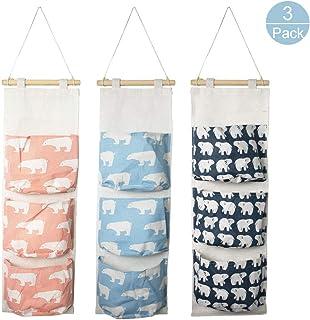 3Pcs Wall Hanging Storage Bag, Creatiee Waterproof Over The Door Closet Organizer, 3 Pockets Linen Cotton Farbric Hanging Pocket Organizer for Bedroom Bathroom