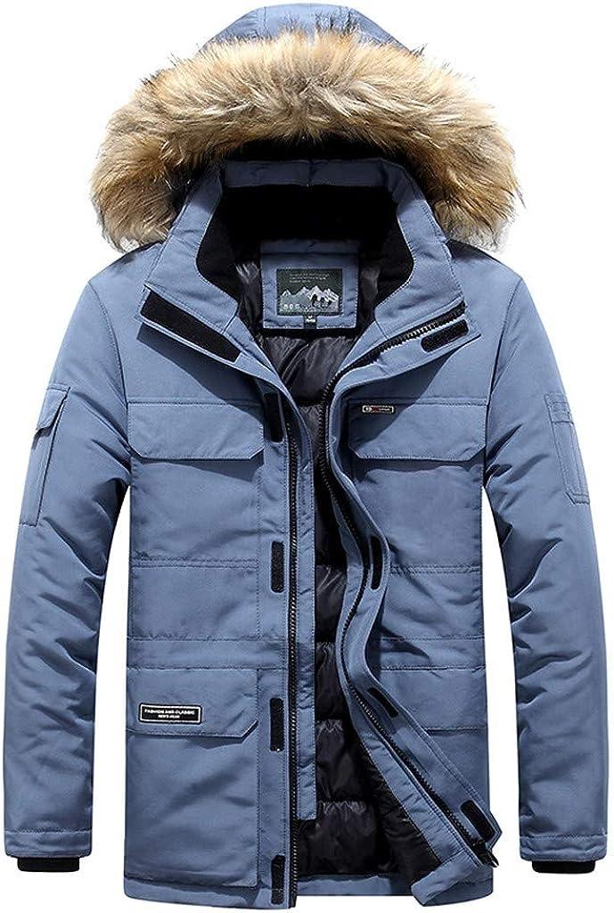 Men's Coat with Fur Hood Long Sleeve Warm Thick Winter Vintage Plus Size Zipper Jacket Outwear