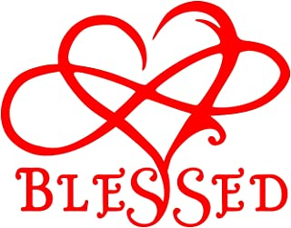 UR Impressions Red 7in. Blessed Infinite Love Heart Decal Vinyl Sticker Graphics for Cars Trucks SUV Vans Walls Windows Laptop|RED|7 X 5.5 Inch|URI695-R