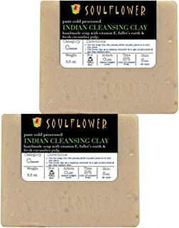 Cleansing Clay Handmade Soap with Coconut Oil, (5.3Oz x 2 bars) 100% Natural, Organic, Vegan & Cold processed, USFDA approved - Soft and Radiant for Oily Skin - Indian Formulation