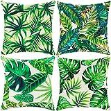 ARNTY Fundas de Cojines 45x45cm, 4 Fundas Cojines Decorativos para Sofa Terciopelo Sencillo y Decorativo Cojines Hojas para Sofá Camas Dormitorio Coche (Hoja Verde 01, Terciopelo)