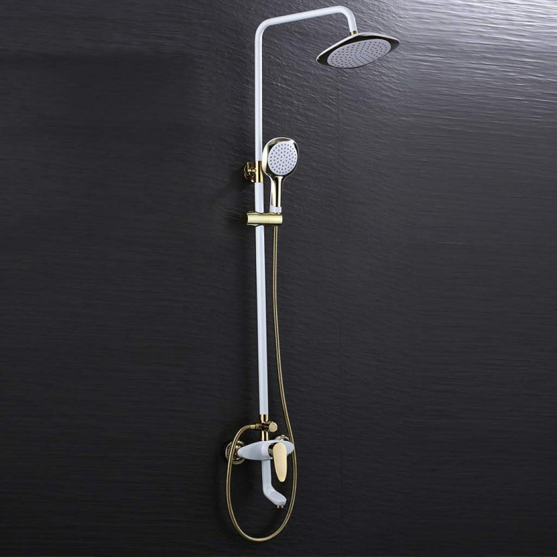 LHW Shower Set, Home, European, Vintage, gold-plated, Hot & Cold Faucet, Copper, Bathroom, Lift, Shower Set