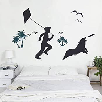 Rawpockets 'Boy and Dog Silhouettes' Wall Sticker (PVC Vinyl, 0.99 cm x 125 cm x 80 cm)