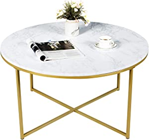 """Giantex Coffee Table Round Adjustable W/Gold Print Metal Frame, X-Shape Beside Sofa for Living Room Accent Furniture Tea Table (36""""x36""""x19""""(LxWxH))"""