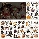 HOWAF Halloween Tatuajes Temporales niños, Purpurina + Luminosos Tatuaje temporal de Halloween tattoo pegatinas para niños, niñas, regalos de fiesta de Halloween Cumpleaños Infantiles, 4 hojas