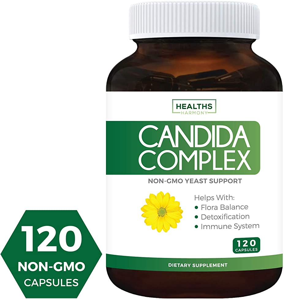 Candida Cleanse (Non-GMO) 120 Capsules - Extra Strength - Powerful Yeast & Intestinal Flora Support with Caprylic Acid, Oregano Oil and Probiotics - Candida Complex Supplement