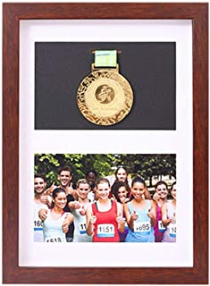 xj Frame to Display Medals,Sports Medal 3D Box Photo Frames,Picture Framing Direct Black and Walnut Color 3D Deep Box Frame to Display War/Military/Sports Medals (1 Medal + 1 Photo) (Walnut Color)