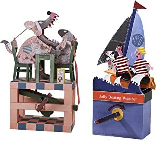 Automata Paper Machine Moving Model Bundle Set Designed by Keith Newstead -Boys Girls Fun & Educational DIY Project, Great for Kids (Having Dinner with a Wolf + Jolly Boating Weather)