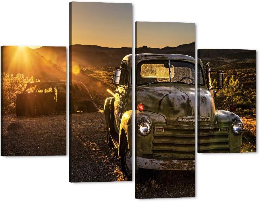 4 Piece Rusty Car Canvas Wall Art Retro Old Brown S Truck Summer Atlanta 2021new shipping free shipping Mall