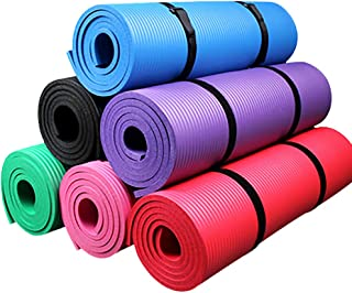Bluelans Yoga Mat with Carry Strap | Extra Thicken Exercise Mat | Non-Slip Durable Workout Mat | Extra Long Cushion for Yoga, Pilates, Meditation, Gym | 183 60 1 cm