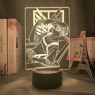 Tatapai Lámpara de decoración de ilusión de luz de noche 3D Lámpara de acrílico 3D on Titan para la decoración de la habitación del hogar Luz Regalo para niños Capitán Levi Ackerman Luz de noche LED