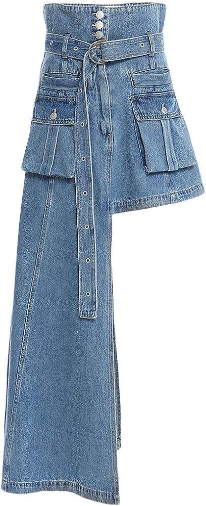 CHARTOU Women's Hippie Trendy High Waist Irregular Steampunk Denim Skirt