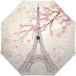 InterestPrint Vintage Paris Eiffel Tower Windproof Compact One Hand Auto Open and Close Folding Umbrella, Antique Paris-City Pink Flowers Rain & Outdoor Unbreakable Travel Umbrella