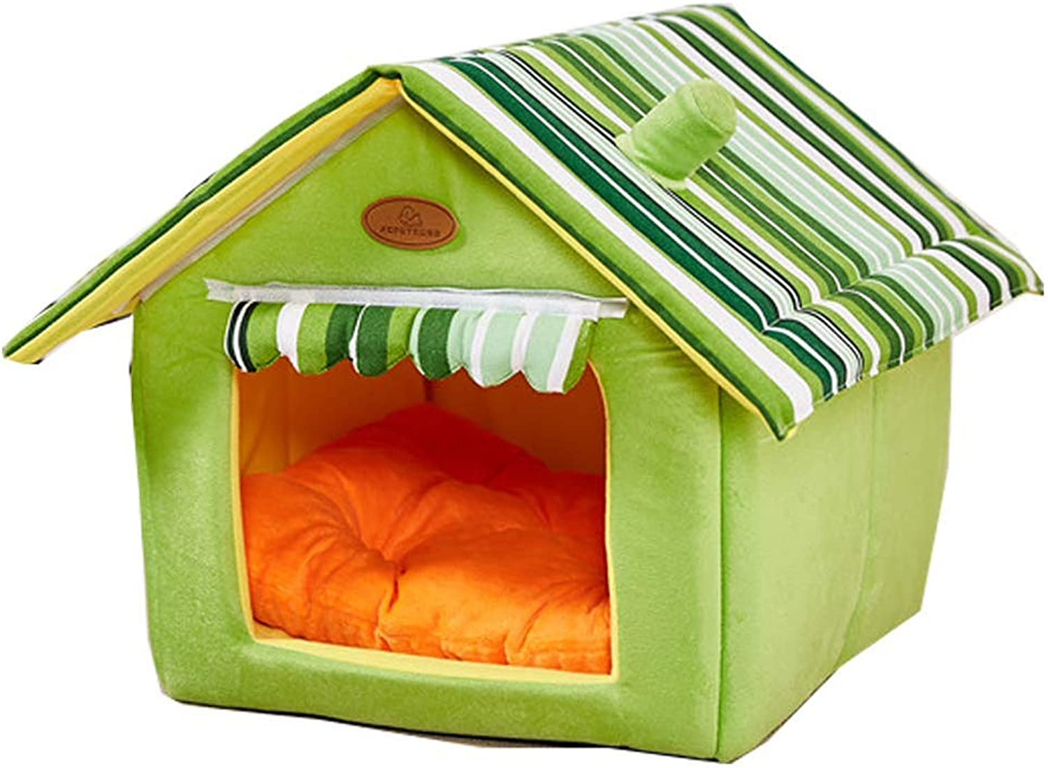QNMM Cat and dog house indoor soft house shape pet nest cat bed dog bed small animal bed sponge material portable indoor pet house easy to carry for comfortable outings and short trips,Green,XL