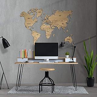 MapaMundi decorativo de madera, personalizable para pared con nombres de países grabados Mapa del mundo para pared • 100x6...